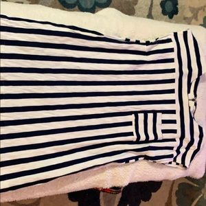 White/ navy stripped dress